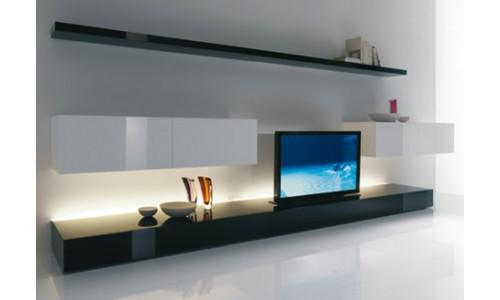 Оригинальные идеи для современной гостиной - стойка под ТВ