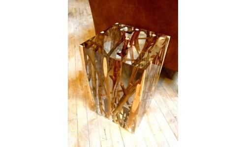 Акриловый журнальный столик с ветвями, застывшими внутри