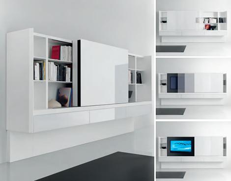 Acerbis book shelves newind 4 Современные книжные полки и серванты от Acerbis new для 2010 года