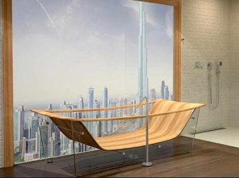 деревянная прозрачная ванна фото