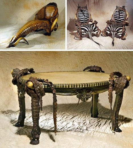 Мебель с кожаными вставками
