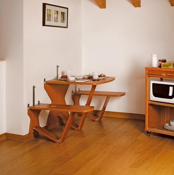Откидной кухонный стол квадратный