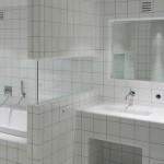 Ванная комната полностью покрытая плиткой