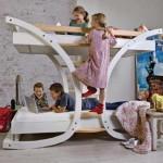 Оригинальная детская 2-ярусная кровать с полукруглыми дугами