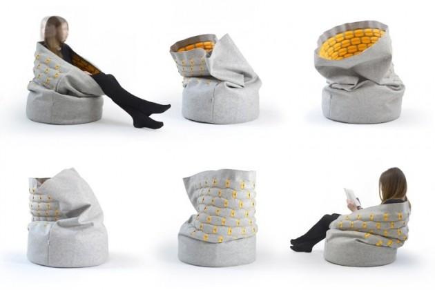 Удобный мягкий пуфик для сидения