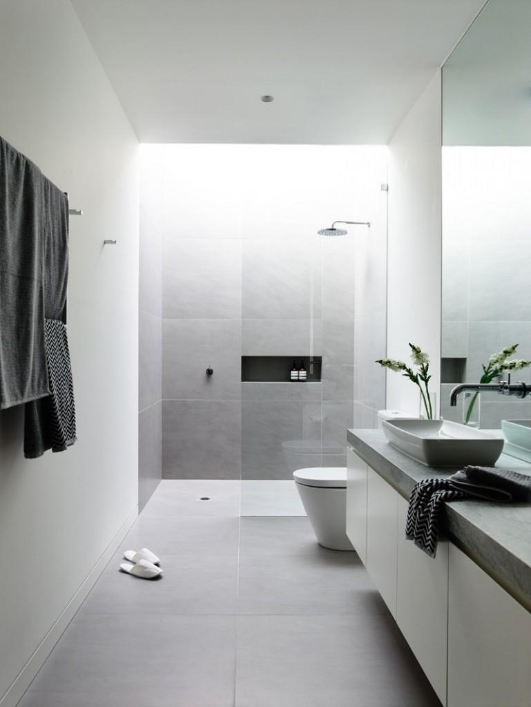 Contemporary grey bathroom