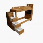 Кровать-чердак с лестницей из выдвижных ящиков